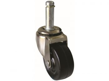 2-Inch Stem Caster, Soft Rubber Wheel, 7/16-Inch x 1-7/16-Inch Stem, 80-lb Load Capacity