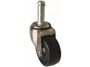 2-Inch Stem Caster, Soft Rubber Wheel, 7/16-Inch x 1-7/16-Inch Stem, 80-lb Load Capacity