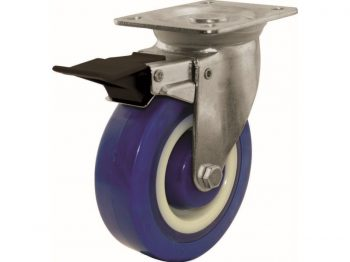 5-Inch Swivel Plate Polyamide Caster with Brake, 440-lb Load Capacity