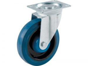 4-Inch Swivel Plate Elastic Blue Rubber Caster, 265-lb Load Capacity