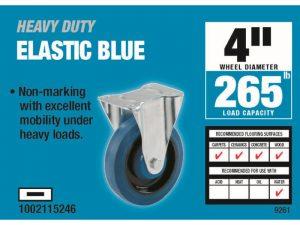 4-Inch Rigid Plate Elastic Blue Rubber Caster, 265-lb Load Capacity