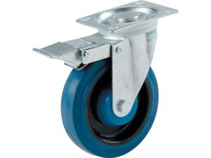 4-Inch Swivel Plate Elastic Blue Rubber Caster with Brake, 265-lb Load Capacity