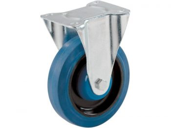 5-Inch Rigid Plate Elastic Blue Rubber Caster, 330-lb Load Capacity