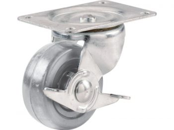 2-Inch Hard Rubber Swivel Plate Caster with Side Brake, 125-lb Load Capacity