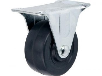 2-Inch Hard Rubber Rigid Plate Caster, 125-lb Load Capacity