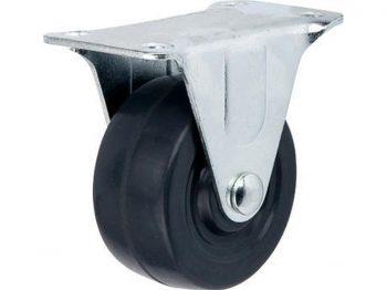 2-Inch Hard Rubber Rigid Plate Caster, 125-lb Load Capacity