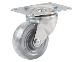 2-1/2-Inch Hard Rubber Swivel Plate Caster, 175-lb Load Capacity