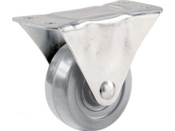 2-1/2-Inch Hard Rubber Rigid Plate Caster, 175-lb Load Capacity