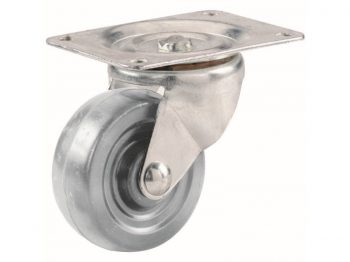 3-Inch Hard Rubber Swivel Plate Caster, 210-lb Load Capacity