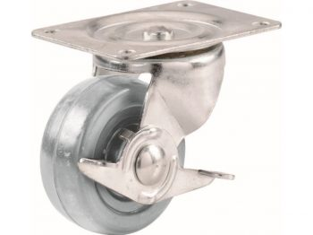 3-Inch Hard Rubber Swivel Plate Caster with Brake, 210-lb Load Capacity