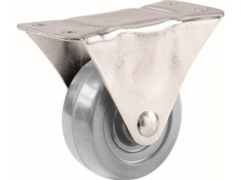 3-Inch Hard Rubber Rigid Plate Caster, 210-lb Load Capacity