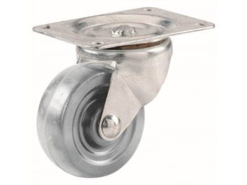 4-Inch Hard Rubber Swivel Plate Caster, 255-lb Load Capacity