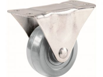 4-Inch Hard Rubber Rigid Plate Caster, 255-lb Load Capacity