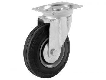 3-Inch Swivel Plate Semi-Elastic Rubber Caster, 130-lb Load Capacity