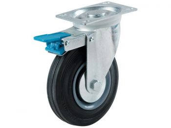 3-Inch Swivel Plate Semi-Elastic Rubber Caster with Total Lock Brake, 130-lb Load Capacity