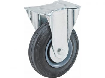 4-Inch Rigid Caster, Semi-Elastic Rubber, 220-lb Load Capacity