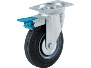 4-Inch Swivel Caster, Semi-Elastic Rubber with Total Lock Brake, 220-lb Load Capacity