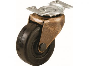 2-Inch Medium Duty Plate, Copper & Black Caster,  2-Pack