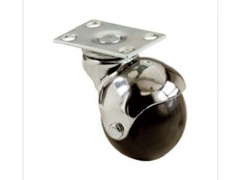 2-Inch Office Chair Plate Caster, Bright Chrome, Hooded Ball, 2-Pack