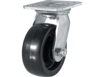 5-Inch Polypropylene Wheel Swivel Plate Caster, 500-lb Load Capacity