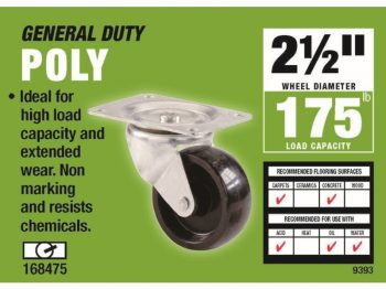 2-1/2-Inch Polypropylene Wheel Swivel Plate Caster, 175-lb Load Capacity