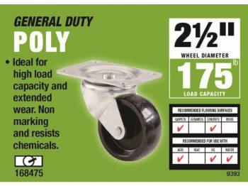 2-1/2-Inch Polypropylene Wheel Swivel Plate Caster, 175-lb Load Capacity