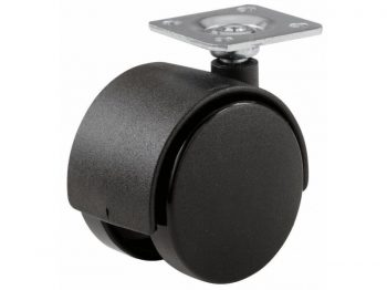 1-5/8-Inch Office Chair Plate Caster, Black, Twin Wheel, 2-Pack