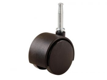 1-5/8-Inch Office Chair Stem Caster, Black, Twin Wheel, 2-Pack