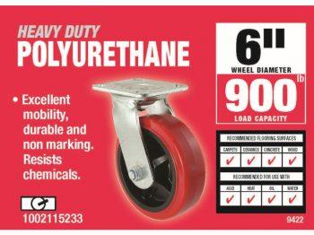 6-Inch Polyurethane Swivel Caster, 900-lb Load Capacity
