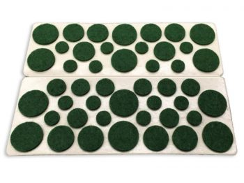 Self-Adhesive Felt Surface Protection Pads, Assorted Sizes, 46-Count, Green