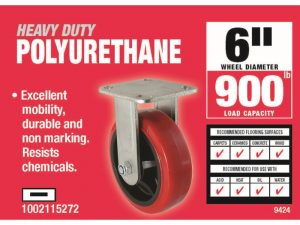 6-Inch Polyurethane Rigid Caster, 900-lb Load Capacity