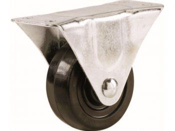 2-Inch Rubber Rigid Plate Caster, 90-lb Load Capacity