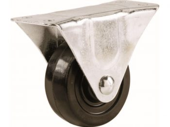 2-1/2-Inch Rubber Rigid Plate Caster, 100-lb Load Capacity