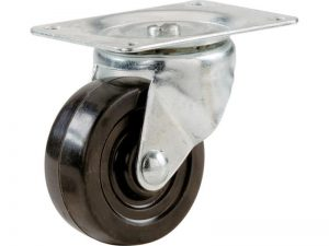 1-1/4-Inch Rubber Swivel Plate Caster, 30-lb Load Capacity