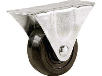 1-1/4-Inch Rubber Rigid Plate Caster, 30-lb Load Capacity