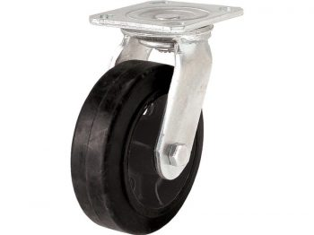 6-Inch Mold-On Swivel Plate Rubber Caster, 410-lb Load Capacity