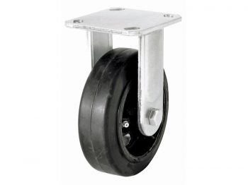 6-Inch Mold-On Rubber Rigid Plate Caster, 410-lb Load Capacity
