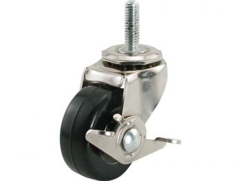 3-Inch Threaded Stem Soft Rubber Caster with Side Brake, 3/8-Inch Stem Diameter, 150-lb Load Capacity
