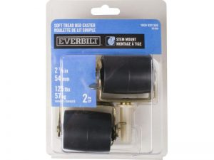 2-1/8-Inch Black Bed Rollers with Side Brake, 2-Pack