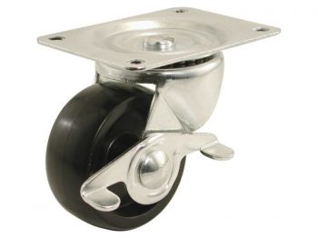 2-Inch Polypropylene Wheel Swivel Plate Caster with Brake, 125-lb Load Capacity