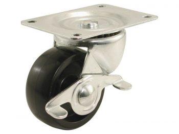 2-Inch Polypropylene Wheel Swivel Plate Caster with Brake, 125-lb Load Capacity
