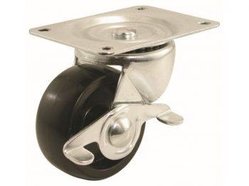 3-Inch Polypropylene Wheel Swivel Plate Caster with Brake, 210-lb Load Capacity
