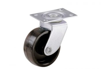 1-5/8-Inch Plastic Swivel Plate, Silver & Black Caster, 4-Pack