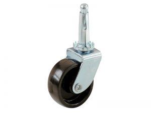 1-5/8-Inch Plastic Swivel Stem, Silver & Black Caster, 4-Pack