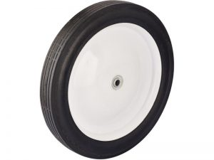 12-Inch Semi-Pneumatic Rubber Tire, Steel Hub with Ball Bearings, Ribbed Tread, 1/2-Inch Bore Centered Axle