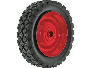 6-Inch Semi-Pneumatic Rubber Tire, Steel Hub with Ball Bearings, Diamond Tread, 1/2-Inch Bore Offset Axle