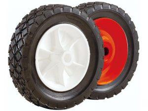 6-Inch Semi-Pneumatic Rubber Tire, Steel Hub with Ball Bearings, Diamond Tread, 1/2-Inch Bore Offset Axle