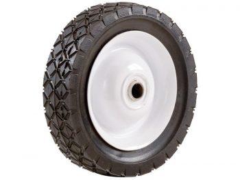 6-Inch Semi-Pneumatic Rubber Tire, Steel Hub with Ball Bearings, Diamond Tread, 1/2-Inch Bore Centered Axle
