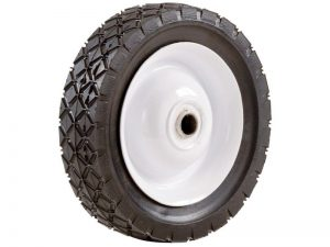 6-Inch Semi-Pneumatic Rubber Tire, Steel Hub with Ball Bearings, Diamond Tread, 1/2-Inch Bore Centered Axle