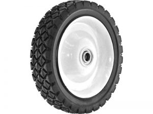 7-Inch Semi-Pneumatic Rubber Tire, Steel Hub with Ball Bearings, Diamond Tread, 1/2-Inch Bore Centered Axle